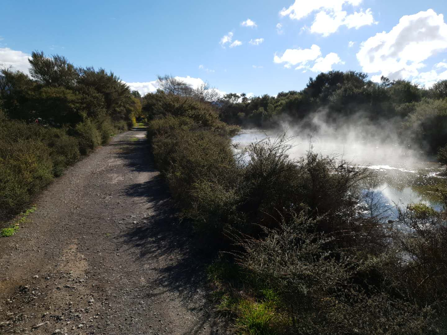 Sunny geothermal walk